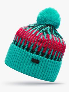 Купить оптом вязанную шапку зимнюю зеленого цвета в интернет магазине MTFORCE 5920Z