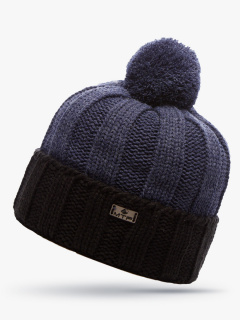 Купить оптом вязанную шапку зимнюю темно-синего цвета в интернет магазине MTFORCE 5921TS