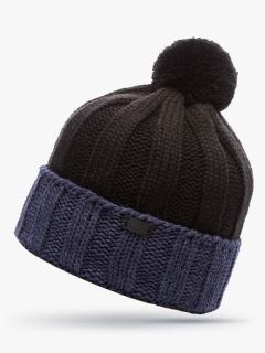 Купить оптом вязанную шапку зимнюю черного цвета в интернет магазине MTFORCE 5921Ch