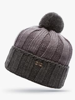 Купить оптом вязанную шапку зимнюю серого цвета в интернет магазине MTFORCE 5921Sr