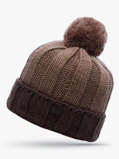 Купить оптом вязанную шапку зимнюю коричневого цвета в интернет магазине MTFORCE 5921K