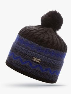 Купить оптом вязанную шапку зимнюю темно-синего цвета в интернет магазине MTFORCE 5906TS