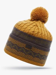 Купить оптом вязанную шапку зимнюю горчичного цвета в интернет магазине MTFORCE 5906G