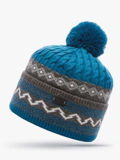 Купить оптом вязанную шапку зимнюю синего цвета в интернет магазине MTFORCE 5906S