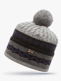 Купить оптом вязанную шапку зимнюю серого цвета в интернет магазине MTFORCE 5906Sr