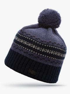 Купить оптом вязанную шапку зимнюю темно-синего цвета в интернет магазине MTFORCE 5910TS