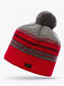 Купить оптом вязанную шапку зимнюю красного цвета в интернет магазине MTFORCE 5910Kr