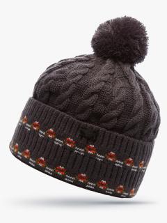Купить оптом вязанную шапку зимнюю коричневого цвета в интернет магазине MTFORCE 5911K
