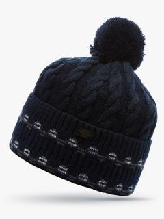 Купить оптом вязанную шапку зимнюю темно-синего цвета в интернет магазине MTFORCE 5911TS