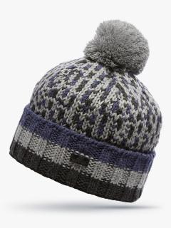 Купить оптом вязанную шапку зимнюю серого цвета в интернет магазине MTFORCE 5912Sr