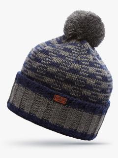 Купить оптом вязанную шапку зимнюю темно-синего цвета в интернет магазине MTFORCE 5913TS
