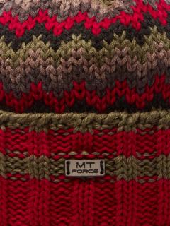 Купить оптом вязанную шапку зимнюю красного цвета в интернет магазине MTFORCE 5914Kr