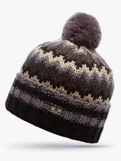 Купить оптом вязанную шапку зимнюю бежевого цвета в интернет магазине MTFORCE 5914B