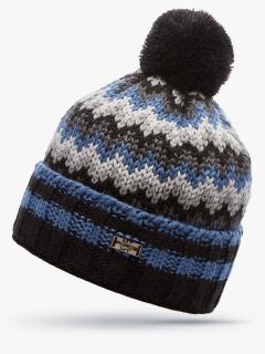 Купить оптом вязанную шапку зимнюю синего цвета в интернет магазине MTFORCE 5914S