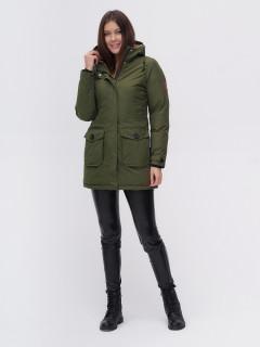 Купить оптом женскую зимнюю парку цвета хаки в интернет магазине MTFORCE 2074Kh