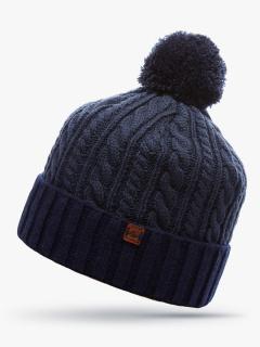Купить оптом вязанную шапку зимнюю темно-синего цвета в интернет магазине MTFORCE 5915TS