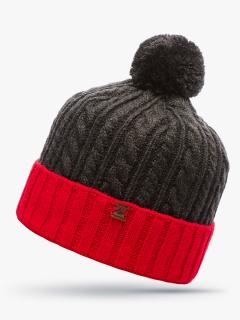 Купить оптом вязанную шапку зимнюю красного цвета в интернет магазине MTFORCE 5915Kr