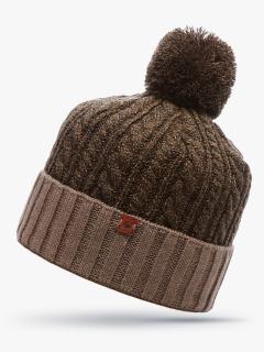 Купить оптом вязанную шапку зимнюю коричневого цвета в интернет магазине MTFORCE 5915K