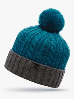 Купить оптом вязанную шапку зимнюю темно-зеленного цвета в интернет магазине MTFORCE 5915TZ