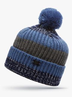 Купить оптом вязанную шапку зимнюю синего цвета в интернет магазине MTFORCE 5916S