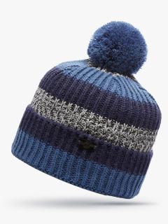 Купить оптом вязанную шапку зимнюю темно-синего цвета в интернет магазине MTFORCE 5916TS