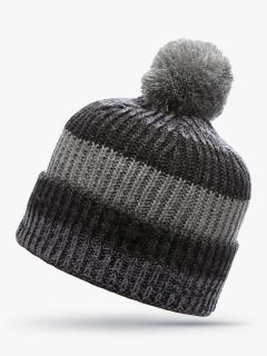 Купить оптом вязанную шапку зимнюю серого цвета в интернет магазине MTFORCE 5916Sr
