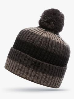 Купить оптом вязанную шапку зимнюю бежевого цвета в интернет магазине MTFORCE 5916B