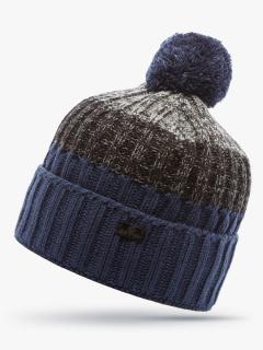 Купить оптом вязанную шапку зимнюю темно-синего цвета в интернет магазине MTFORCE 5917TS