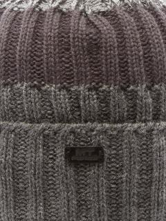 Купить оптом вязанную шапку зимнюю серого цвета в интернет магазине MTFORCE 5917Sr