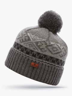 Купить оптом вязанную шапку зимнюю серого цвета в интернет магазине MTFORCE 5918Sr