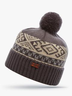 Купить оптом вязанную шапку зимнюю бежевого цвета в интернет магазине MTFORCE 5918B