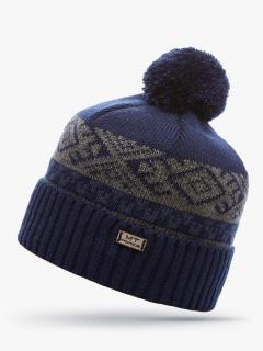 Купить оптом вязанную шапку зимнюю темно-синего цвета в интернет магазине MTFORCE 5918TS