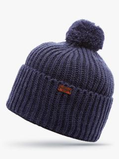 Купить оптом вязанную шапку зимнюю синего цвета в интернет магазине MTFORCE 5919S