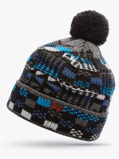 Купить оптом вязанную шапку зимнюю синего цвета в интернет магазине MTFORCE 5924S