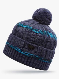 Купить оптом вязанную шапку зимнюю синего цвета в интернет магазине MTFORCE 5909S