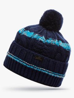 Купить оптом вязанную шапку зимнюю темно-синего цвета в интернет магазине MTFORCE 5909TS