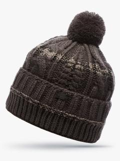 Купить оптом вязанную шапку зимнюю коричневого цвета в интернет магазине MTFORCE 5909K