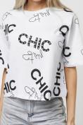 Оптом Топ футболка женская белого цвета 00001Bl в Екатеринбурге, фото 2