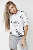 Оптом Топ футболка женская белого цвета 00001Bl в Екатеринбурге, фото 3