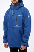 Оптом Костюм мужской большого размера softshell темно-синего цвета 01921TS в Казани, фото 2