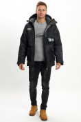 Оптом Молодежная зимняя куртка мужская черного цвета 059Ch в Екатеринбурге, фото 7