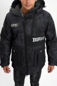 Оптом Молодежная зимняя куртка мужская черного цвета 059Ch в Екатеринбурге, фото 12
