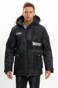Оптом Молодежная зимняя куртка мужская черного цвета 059Ch в Екатеринбурге, фото 3