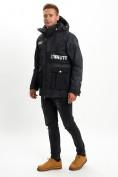 Оптом Молодежная зимняя куртка мужская черного цвета 059Ch в Екатеринбурге, фото 5