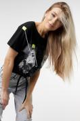 Оптом Топ футболка женская черного цвета 06021Ch в Екатеринбурге, фото 6
