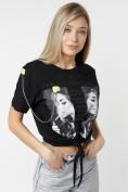 Оптом Топ футболка женская черного цвета 06021Ch в Екатеринбурге