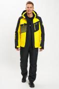 Оптом Горнолыжный костюм мужской желтого цвета 077012J в Екатеринбурге