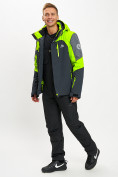 Оптом Горнолыжный костюм мужской зеленого цвета 077013Z в Екатеринбурге, фото 2