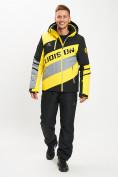 Оптом Горнолыжный костюм мужской желтого цвета 077022J в Екатеринбурге