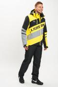 Оптом Горнолыжный костюм мужской желтого цвета 077022J в Екатеринбурге, фото 4